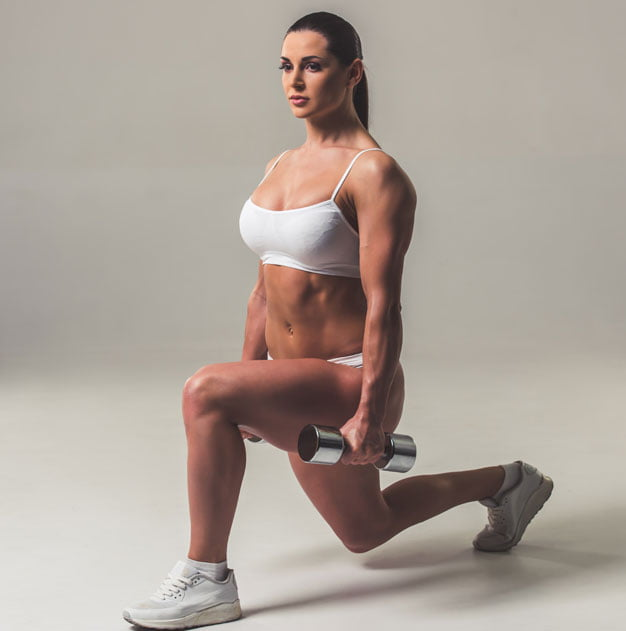 Compound exercise for legs: lunge with weight